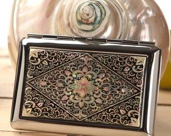 Mother of Pearl Black Arabesque Design Thin Slim Engraved Metal Men Cigarette Tobacco Case Holder Box Storage Wallet