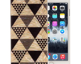 Mother of Pearl Luxury iPhone 7 Geometric Pyramid Triangle Pattern Design Hard Shell Protective Skin Cover Carrying Case (White)