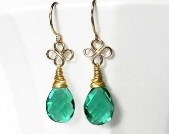 Green Drop Earring, Emerald Green Quartz Drop Earring, Green Briolette Earring, Green Earring, Gold Filled