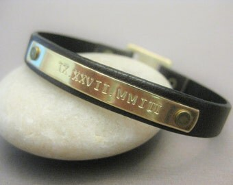 Brass and Leather Bracelet with Custom Roman numeral date stamped on Brass, Brown Leather Bracelet, Wedding, Date, Anniversary,Birthday Gift