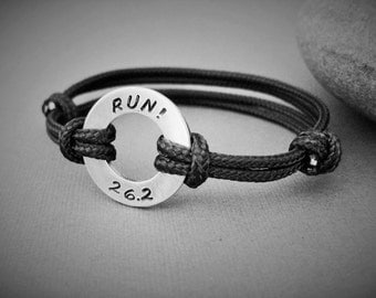 RUN! 26.2 or 13.1, Adjustable Men's or Women's Bracelet, Hand stamped Aluminum Disk Stamped, Adjustable size, Marathon, Runners Bracelet