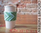 CROCHET PATTERN: Eddyline Chevron Coffee Cup Cozy