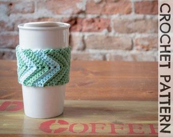 CROCHET PATTERN: Eddyline Chevron Coffee Cup Cozy
