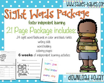 Sight Words 1 2 3 Independent Learning Package ages 3-6
