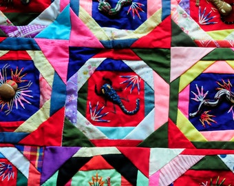 scorpians spiders and lizards, bugs bugs arpillera Peru large textile wall hanging, 60s-70s