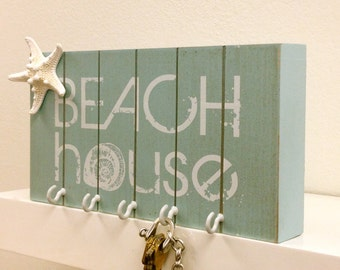 Beach Decor Key Holder with Starfish - Wall Key Holder Jewelry Key Holder Rack Organizer Necklace Key Rack