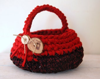 Crochet red basket with handle and buttons, Handmade easter basket, Eco friendly home decor