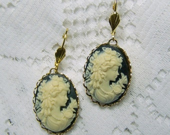 Southern Belle Earrings, Gone With The Wind, Black & Bone, Gold Plated, Lady with Butterfly, Lever Back Earrings, UDC, Woman Cameo Earrings