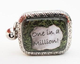 One In A Million, Golden Jigsaw Puzzle Piece Locket, Autism Awareness, Moss Terrarium Pendant Jewelry lk1