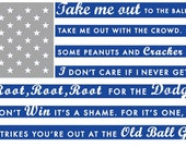 "Los Angeles Dodgers- Take Me Out to the Ballgame rustic flag sign 11"" x  22"" - Gray and blue"