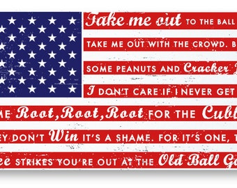 """Chicago Cubs- Take Me Out to the Ballgame rustic flag sign 11"""" x  22"""" Red and Navy"""