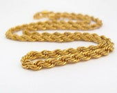 Vintage Necklace Rope Chain Gold Tone Classic Goldtone Chain Jewelry, Vintage Chain, Gold Tone Chain, Rope Chain, Classic Jewelry