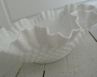 Vintage Hobnail Bowl White Milk Glass