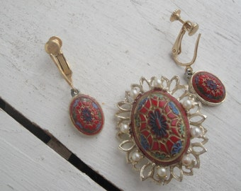 Vintage Pin and Earring Set Gold Burgundy Pearl