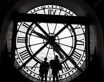 Paris Clock Print, Black and White Paris Print, Paris Clock Photograph, Clock at the Musee D'Orsay, Monochrome, Paris Living Room Decor