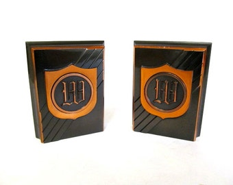 Monogram W, Mid Century  Monogrammed Bookends,  Old World Font