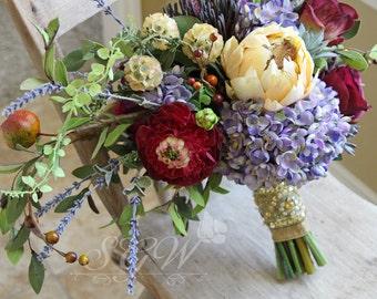 Marsala and Lavender Silk Flower Wedding Bouquet | Bohemian Wildflower Wedding
