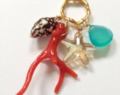 Gold Fill Necklace with Natural RED Coral Branch, Starfish, Aqua Chalcedony, Shell (Style 3923)
