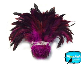 Rooster Feathers, 1 Yard - MAGENTA Half Bronze Strung Rooster Schlappen Feathers (bulk) : 3853