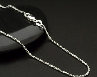 Sterling Silver Chain - 1.2mm Twisted Diamond Cut Box Chain - 20 inches