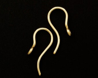 1 Pair Handmade Lovely Perpendicular Ear Wires  - 19 gauge - 14kt Rose Gold Filled, Yellow Gold Filled or Sterling Silver  - 100% Guarantee