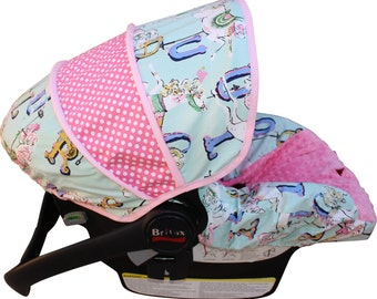 Infant Car Seat Cover Vintage Carousel Mint