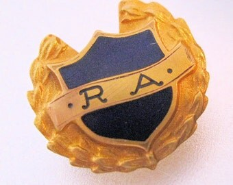 R A Blue Enamel & Gold Filled Lapel Pin Vintage Jewelry Jewellery FREE Shipping