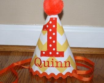 girls or boys 1st birthday hat, cake smash hat, personalized birthday hat, yellow and orange, smash cake, first birthday hat, photo prop