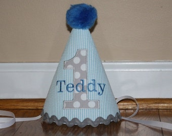 boys first birthday, boys 1st birthday hat, free personalization, blue stripe with gray dots, cake smash outfit, boys hat, birthday hat