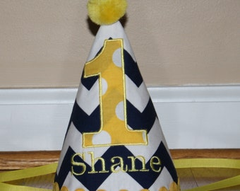 boys 1st birthday hat, monogrammed first birthday hat, cake smash outfit, 1st birthday hat, navy blue and yellow, personalized birthday hat