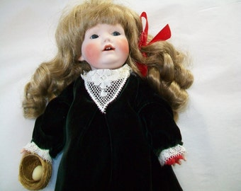 SALE - Handmade French porcelain doll, 1980s, Margiana doll, Margie Costa