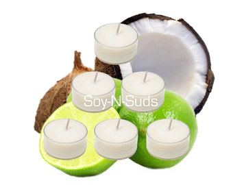 COCONUT LIME // Tea Light Soy Candles // 6 Pack Homemade Soy Candles // Dye Free