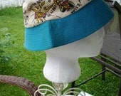 Rare Vintage 60s Sky Blue Rock and Roll Elvis Daddy Oh Ladies MOD Summer Beach Hat