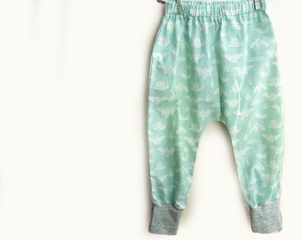 Baby Harem pants, trousers in Organic Mint Bugs
