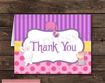White Rabbit Tea Party Folded Blank Thank You Card