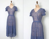 o n h o l d..............vintage 1930s dress / purple lace 30s dress / Minding The Manor