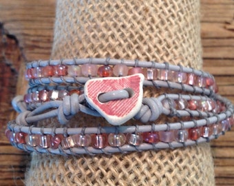 Tickled Pink Wrap Bracelet with Beach Pottery Button