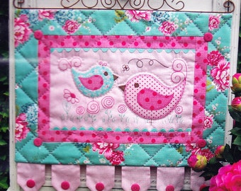 PATTERN - Hotch & Potch - sweet birdies applique, stitchery, pieced wall hanging PATTERN - The Rivendale Collection