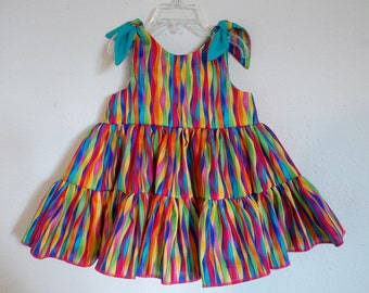 Bright Rainbow Stripes Twirly Sundress Boutique Dress striped print cool cotton fabric Baby Infant Toddlers Girls Sizes. Free shipping in US