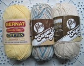 REDUCED PRICE!! Destash Lot of 3 - 100 Percent Cotton Partial Big Ball Yarn Lily Sugar'n Cream, Bernat Handicrafter -
