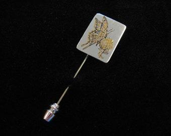 Butterfly Stick Pin, Reed & Barton Damascene Butterfly Stick Pin, Butterfly Lapel Pin, Butterfly Pin for Women, Golden Butterfly Pin