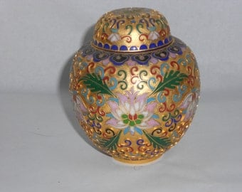 Vintage Chinoiserie  Champleve Cloisonne Ginger Jar  Chinese Floral Motif  Enamel on Brass