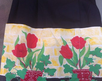 Sweet Vintage Home Sewn Half Apron Tulips Ivy