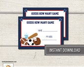 Sports Navy and Red Boys Shower Guess How Many Baby Shower Game INSTANT DOWNLOAD bs-019
