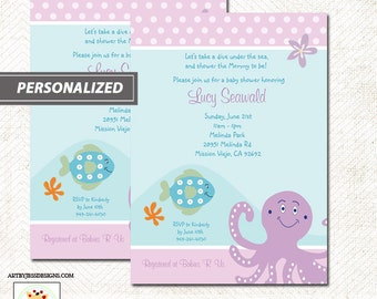 Under the Sea Purple Octopus and Fish Baby Shower Invitation, Print your own Invitations
