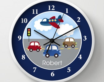 "Travel Time Transportation Nursery Toddler 10"" Wall Clock, Choose frame color, hands color, personalization"