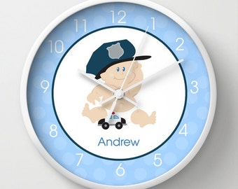Boy Baby Cop Police Officer Nursery Room Wall Clock, choose personalization, clock frame, clock hands