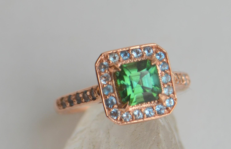 Rose Gold Cocktail Ring green gemstone ring colored gemstone