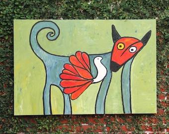 Otomi Critter  Folk Art Original Oil Painting