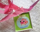 Cute Baby Puffer Fish in Fish Bowl 3D Necklace Green & Pink - with Sparkle Edge Pink Ombre Ribbon